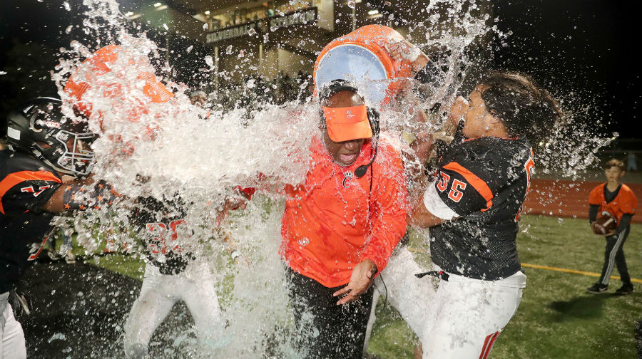 Mark Keel gets plunged with ice water with less than a minute before his 100th win