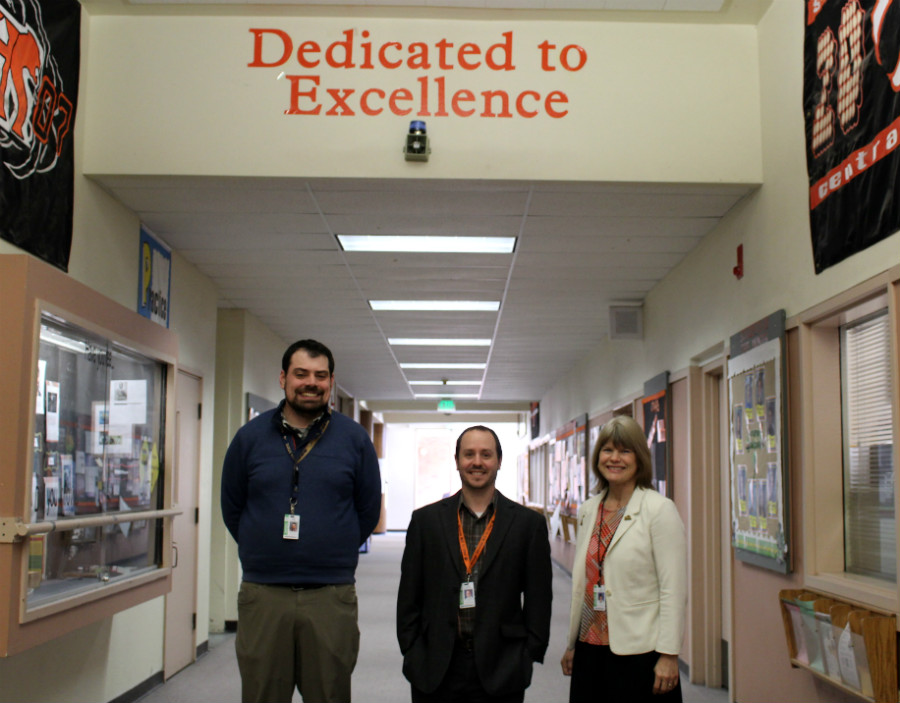 The current CKHS administration. Left to right: Assistant Principal Matt Clouser, with Co-Principals Craig Johnson and Gail Danner.