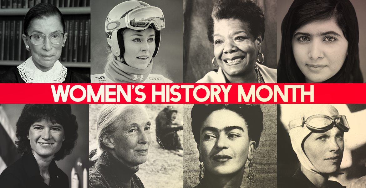 Faces of visionary women in U.S. history.