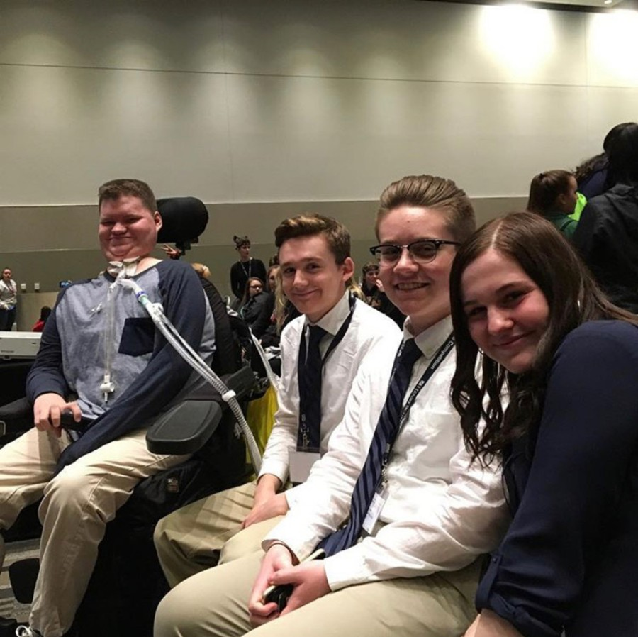 (Left to Right) Hayden Werdal, Mark Mckee, Austin Selby and Ally Toms at the State Competition.