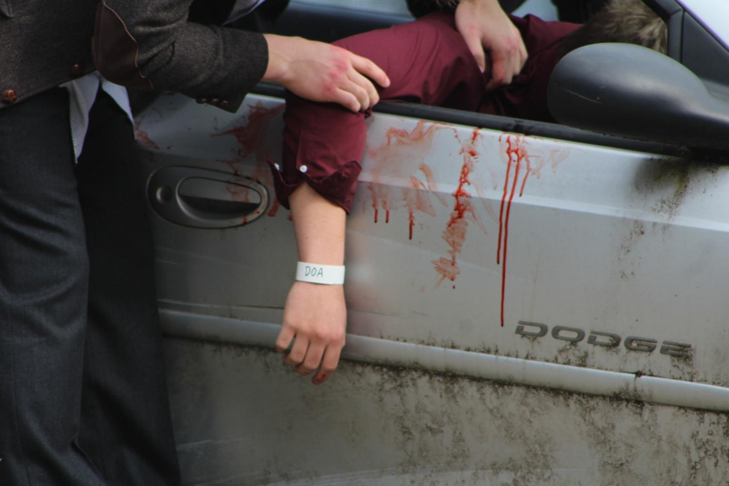 Avery Schuette's hand after the crash occured.