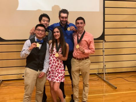 "The Valedictorians and Salutatorians pose with their medals after Senior Awards Night. Right to Left: Ryan Nguyen, Woon Na, Kathryn Alexa Watson, Frederick ""Fritz"" Humm, and Matyas Kisiday. (Not pictured: Khoi-Viet Le)"