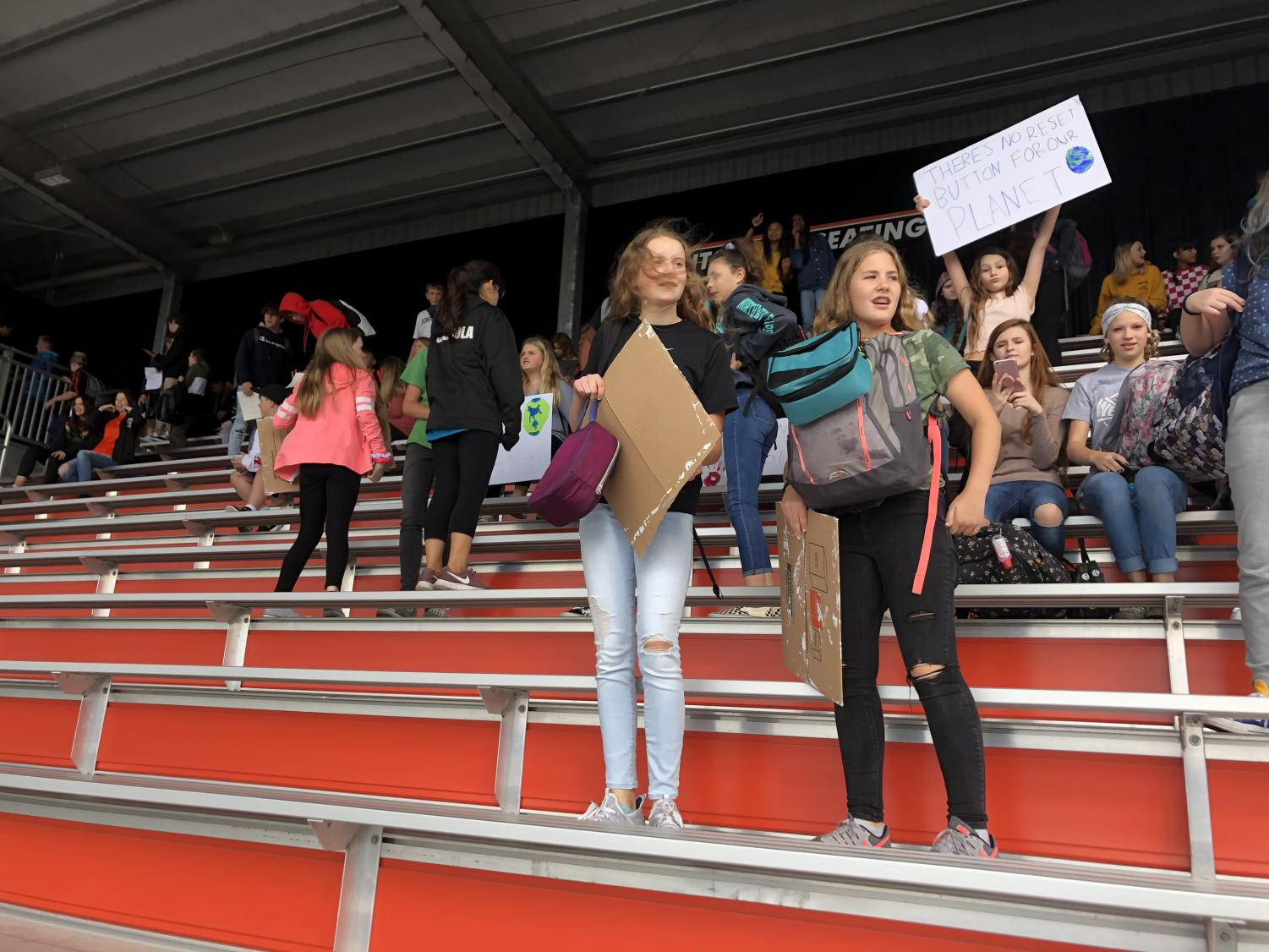 Group of Central Kitsap Middle Schoolers strike for Climate Policy on the High School bleachers during the Sept. 27 protests.