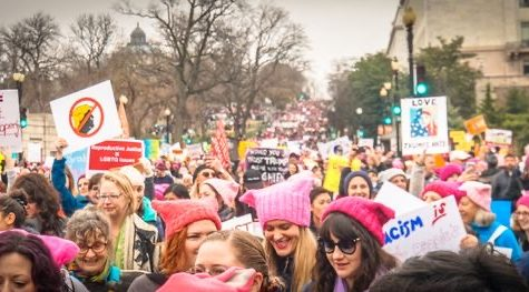 The 2017 Women's March, which drew over 470,000 people protesting for immigration & healthcare reform, environmental protection, and reproductive rights to show unity in opposition to President Donald Trump