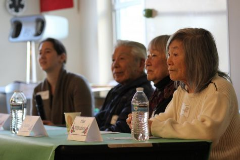 "Guest speakers during  ""Leaving our island day"" pictured from right to left; Hisa Hayashida Matsudaira, Lily Kitamoto Kodama, Bill Takemoto, and Gillian Engelson"