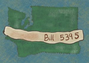 A graphic displaying Washington state, with a banner reading