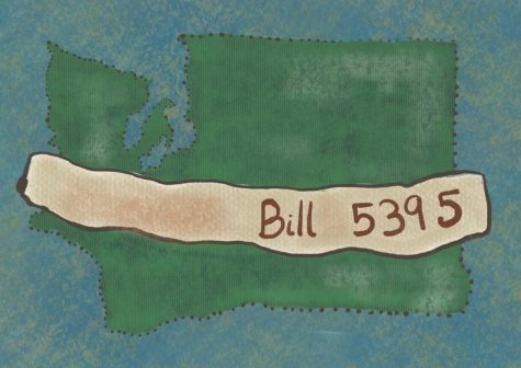"A graphic displaying Washington state, with a banner reading ""Bill 5395"" across it."