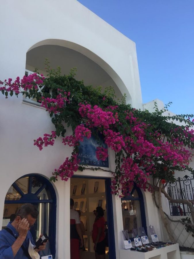 An assortment of magenta flowers drape the doorway of a shop in Greece.