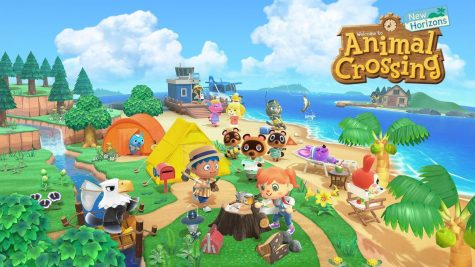 "An image of the ""Animal Crossing: New Horizons"" logo and its characters."