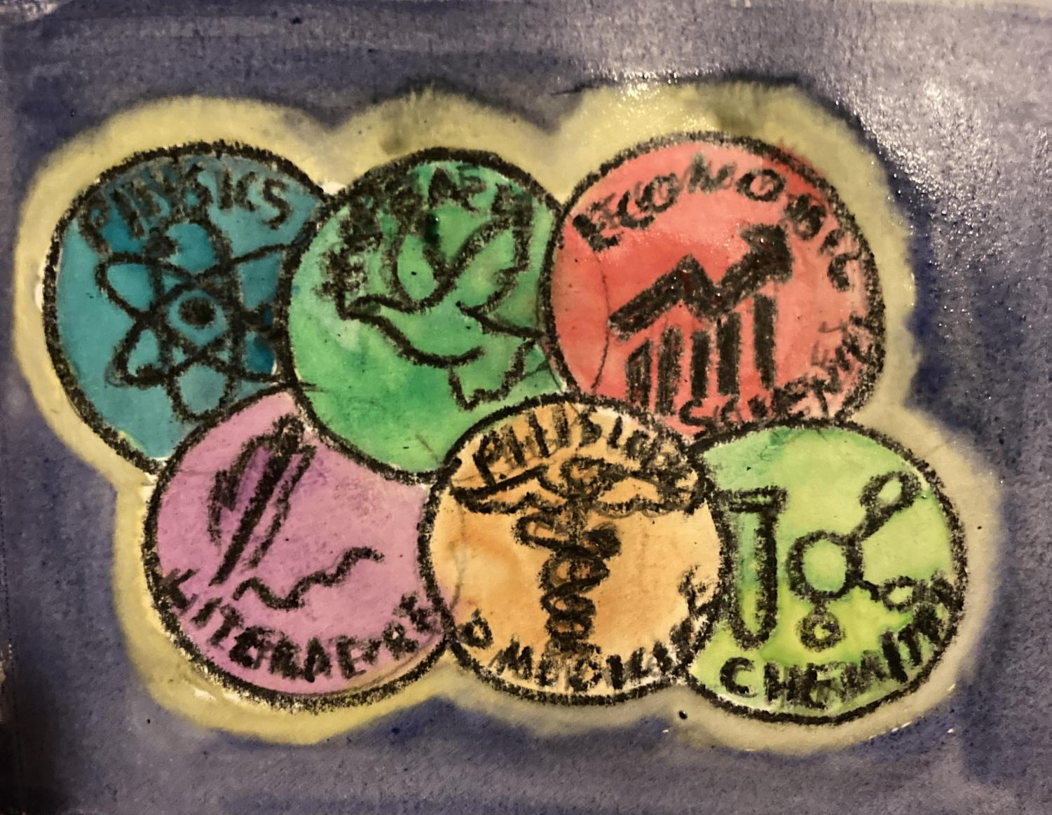 A painting of the six Nobel categories.
