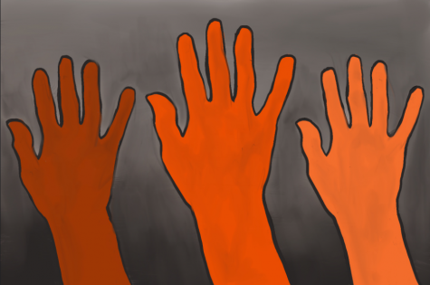 An illustration of three hands reaching upwards, drawn in the CKHS school colors.