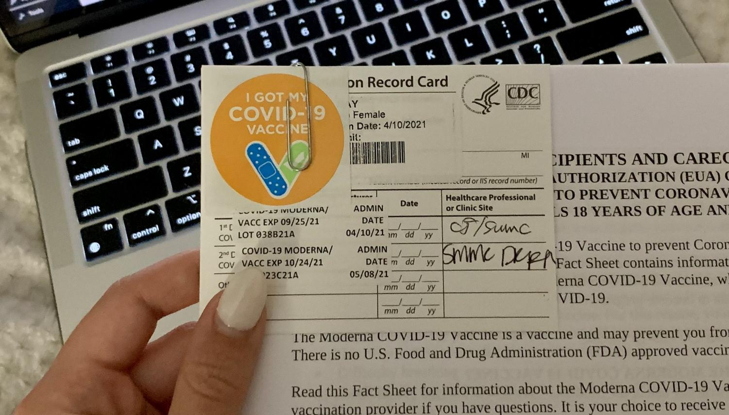 Vaccination card for the Moderna vaccine.